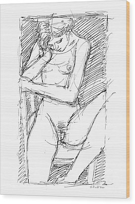 Wood Print featuring the drawing Nude Female Sketches 4 by Gordon Punt