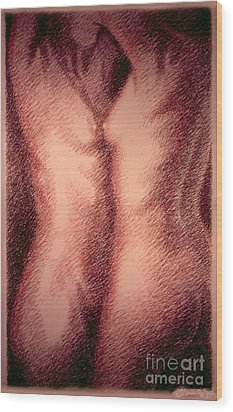 Nude Female Torso Drawings 1 Wood Print by Gordon Punt