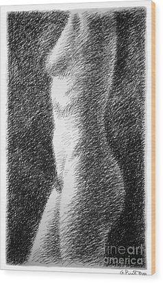 Nude Female Torso Drawings 6 Wood Print by Gordon Punt