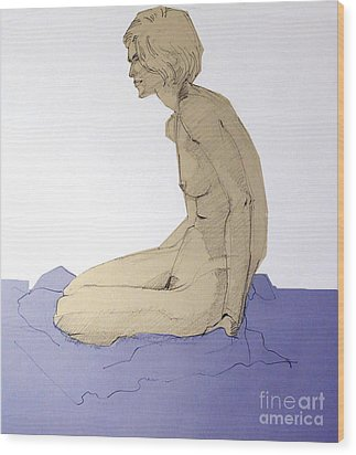 Wood Print featuring the drawing Nude Figure In Blue by Greta Corens