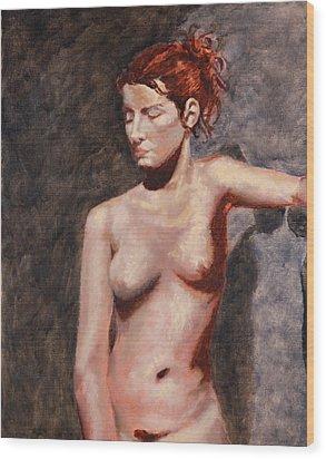 Nude French Woman Wood Print by Shelley Irish