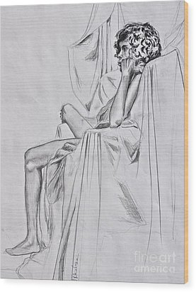 Nude In A Draped Chair Wood Print