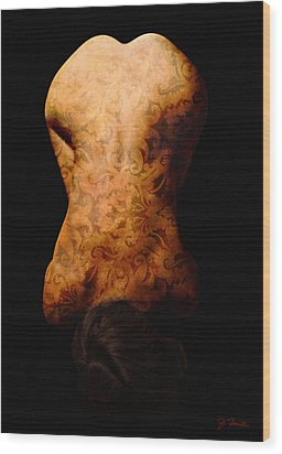 Nude In Brocade Wood Print by Joe Bonita