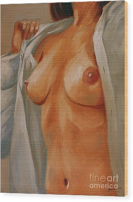 Nude In Shirt I Wood Print by John Silver