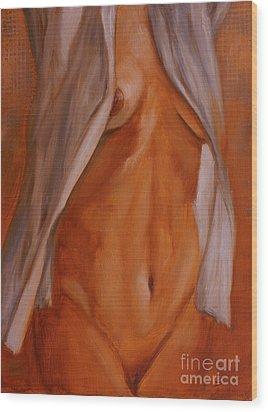 Nude In Shirt IIi Wood Print by John Silver