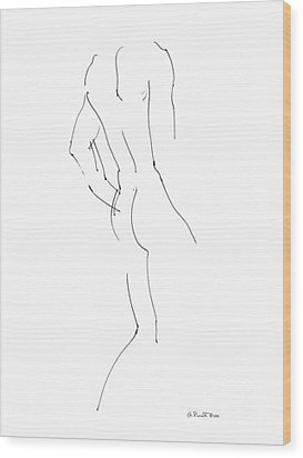 Wood Print featuring the drawing Nude Male Drawings 2 by Gordon Punt