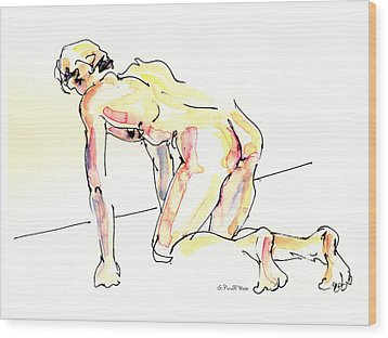 Wood Print featuring the painting Nude Male Drawings 3w by Gordon Punt