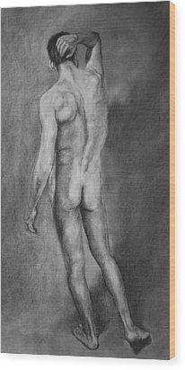 Wood Print featuring the drawing Nude Male by Rachel Hames