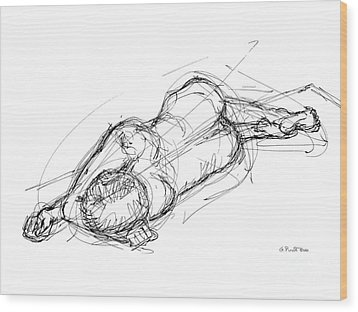 Wood Print featuring the drawing Nude Male Sketches 4 by Gordon Punt