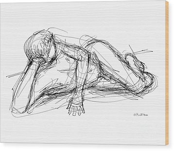 Wood Print featuring the drawing Nude Male Sketches 5 by Gordon Punt
