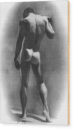 Nude Man In Contemplation Drawing Wood Print by Karon Melillo DeVega