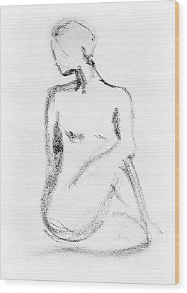 Nude Model Gesture Vi Wood Print