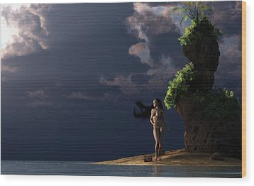 Wood Print featuring the digital art Nude On A Beach by Kaylee Mason