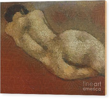 Nude On A Red Wood Print by Dragica  Micki Fortuna