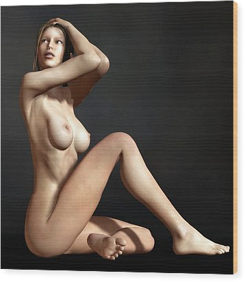 Wood Print featuring the digital art Nude On The Floor by Kaylee Mason