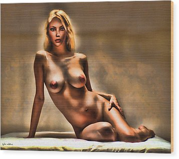 Nude Reclining Wood Print by Tyler Robbins