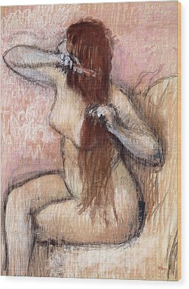 Nude Seated Woman Arranging Her Hair Femme Nu Assise Se Coiffant Wood Print by Edgar Degas