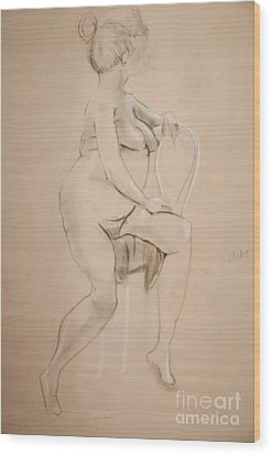 Nude Sits On White Chair Wood Print