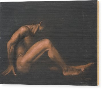 Nude Sitting Wood Print by L Cooper