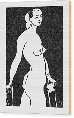 Nude Sketch 4 Wood Print by Leonid Petrushin