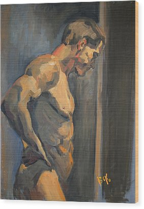 Wood Print featuring the painting Nude Study  by Becky Kim