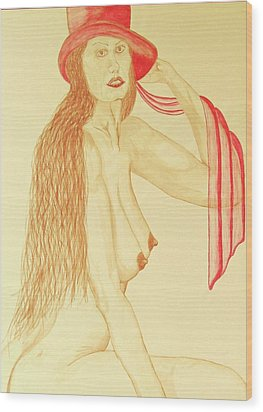 Nude With Red Hat Wood Print by Rand Swift