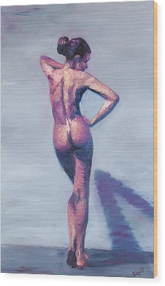 Nude Woman In Finger Strokes Wood Print by Shelley Irish