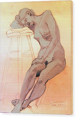 Wood Print featuring the drawing Nude Woman Leaning On A Barstool by Greta Corens
