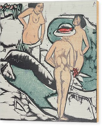 Nude Women Wood Print by Ernst Ludwig Kirchner