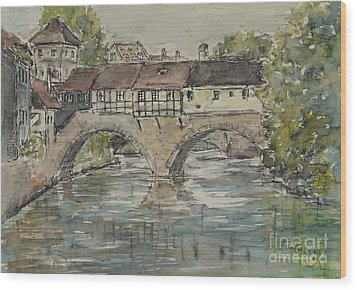 Wood Print featuring the painting Nuernberg Bridge Of The Hangman by Alfred Motzer