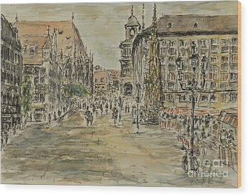 Wood Print featuring the painting Nuernberg Central Market Place With Gothic Fountain by Alfred Motzer