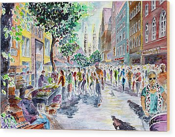 Wood Print featuring the painting Nuernberg Karolinenstrasse Digitally Remastered by Alfred Motzer