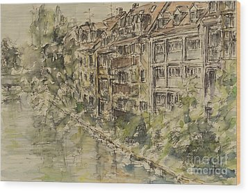 Wood Print featuring the painting Nuernberg Southern Riverside Of Rednitz by Alfred Motzer
