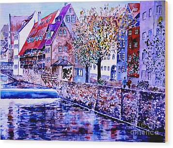 Wood Print featuring the painting Nuernberg Walkby The Riverside by Alfred Motzer