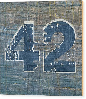 Number 42 Wood Print by Michelle Calkins
