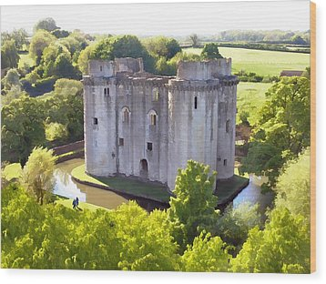 Nunney Castle Painting Wood Print by Ron Harpham