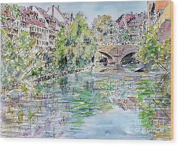 Wood Print featuring the painting Nuremberg River Pegnitz Watching Charles Bridge by Alfred Motzer