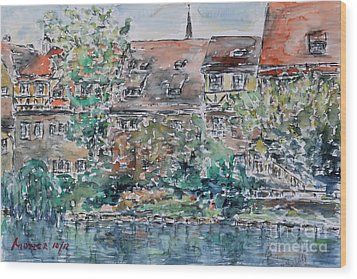 Wood Print featuring the painting Nuremberg Southern Riverside Of Pegnitz by Alfred Motzer