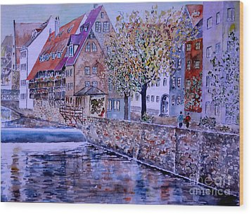 Wood Print featuring the painting Nuremberg Walk By The Riverside by Alfred Motzer