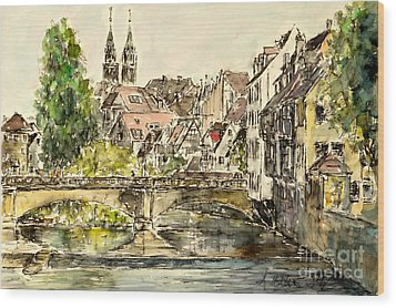 Wood Print featuring the painting Nuremberg Watching St.laurence Cathedral by Alfred Motzer