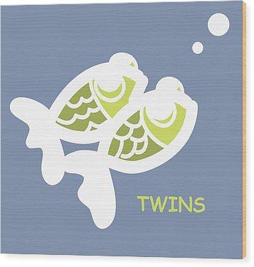 Nursery Wall Art For Twins Wood Print by Nursery Art