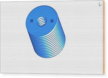 Nut 3d -- Mechanical Brick Wood Print by Pop Horea-Vasile