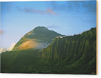 Nuuanu Pali At Sunrise Wood Print by Kevin Smith