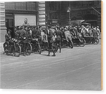 Ny Armored Motorcycle Squad  Wood Print by Underwood Archives