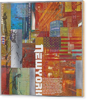 Ny City Collage 3 Wood Print by Corporate Art Task Force