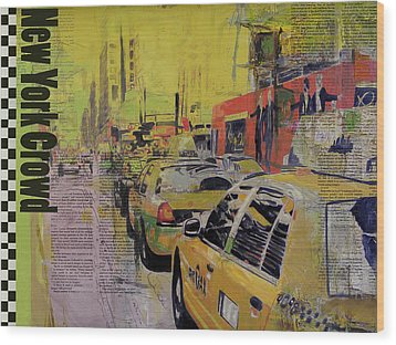 Ny City Collage Wood Print by Corporate Art Task Force