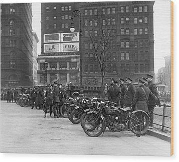 Ny Motorcycle Police Wood Print by Underwood Archives