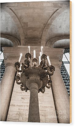 Wood Print featuring the photograph Ny Public Library Candelabra by Angela DeFrias
