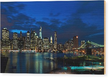 Ny Skyline From Brooklyn Heights Promenade Wood Print