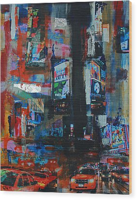 Ny Times Square Night 2 Wood Print